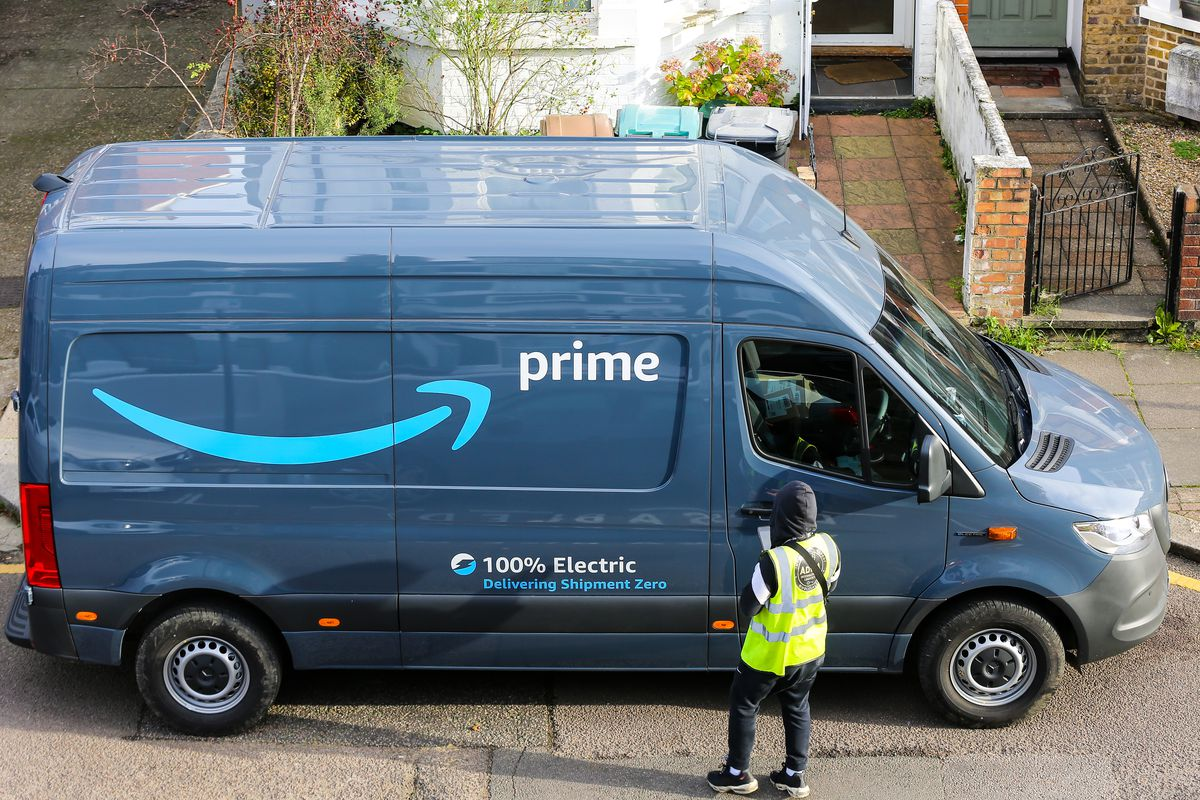 An Amazon Prime delivery van is seen in London...