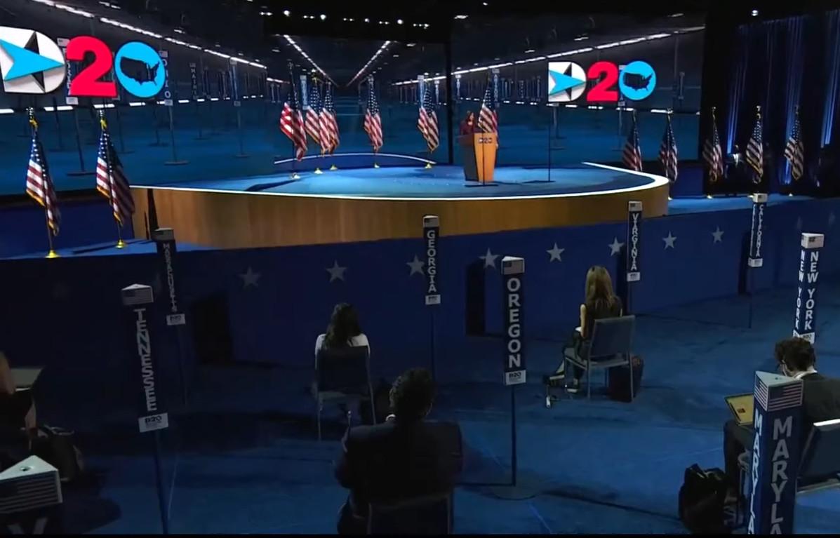 Kamala Harris gives her acceptance speech at the 2020 DNC.