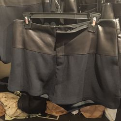 Shorts with leather trim, $100