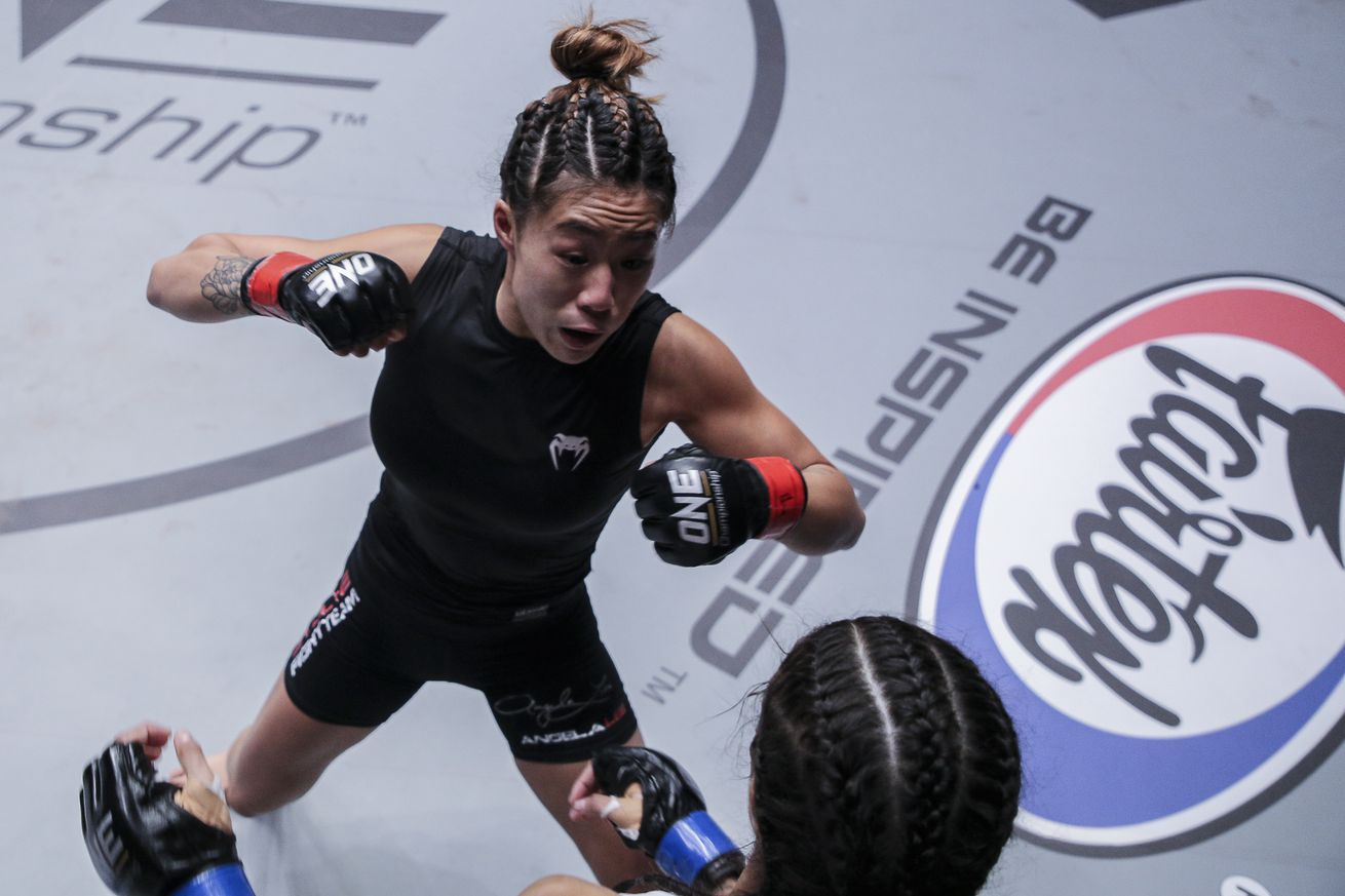 Angela Lee, top, will compete in the One Championship event Friday morning.