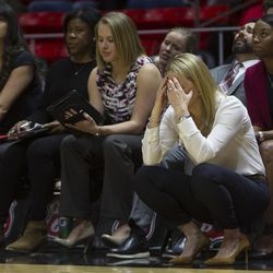 Utah Utes head coach Lynne Roberts reacts to the game during the Utes' 84-68 loss to the Oregon Ducks at the Jon M. Huntsman Center in Salt Lake City on Sunday, Jan. 28, 2018.