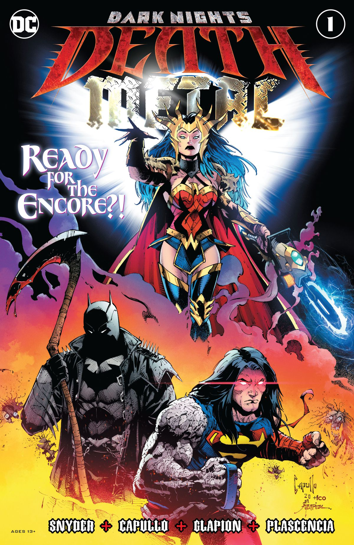 Wonder Woman, Batman, and Superman on the cover of Dark Nights: Death Metal #1, DC Comics (2020.