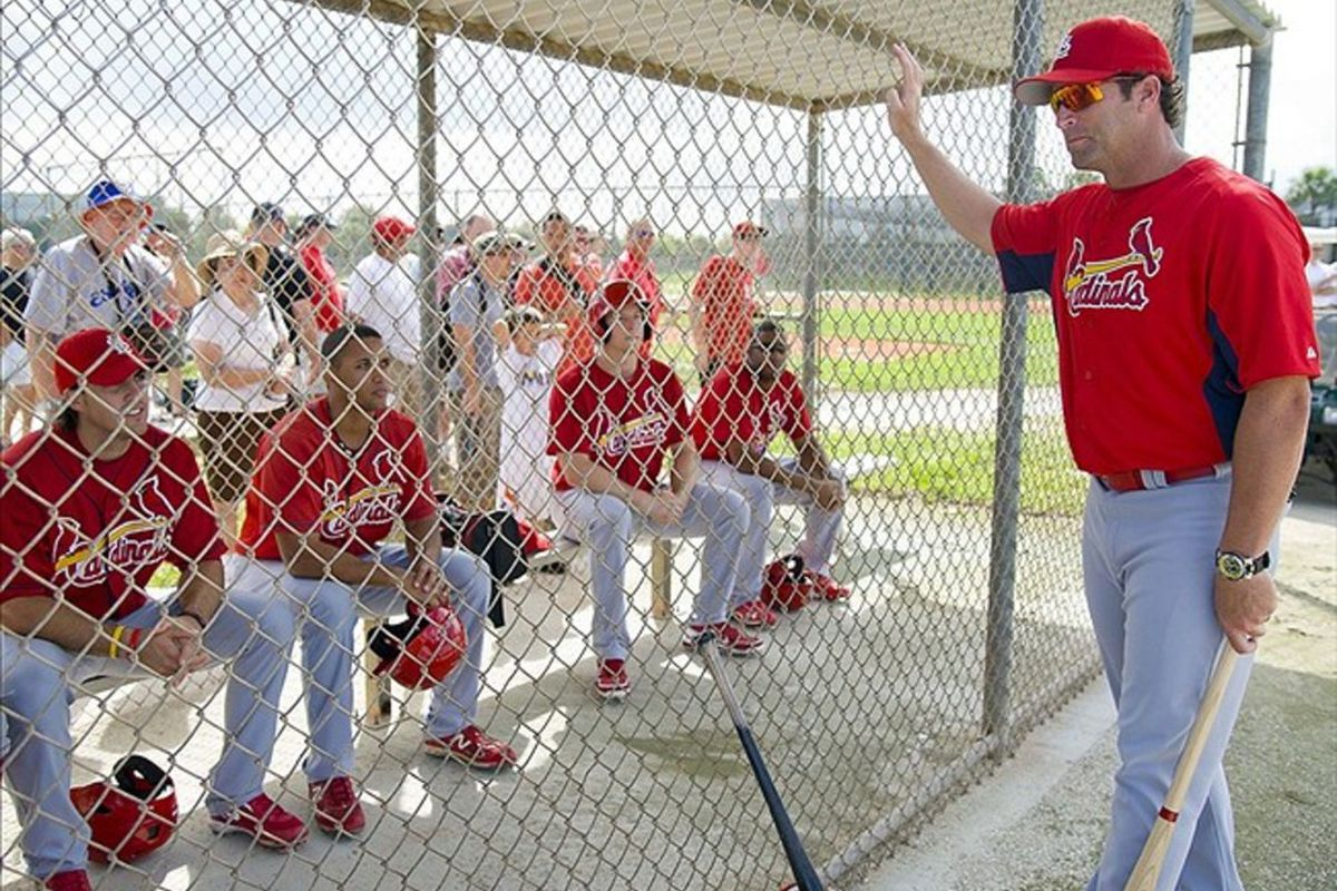 Mar 1, 2012; Jupiter, FL. USA; St. Louis Cardinals manager Mike Matheny (22) talks with minor league players during spring training at Roger Dean Stadium. Mandatory Credit: Scott Rovak-US PRESSWIRE