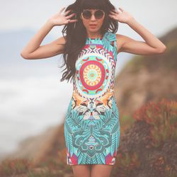 """<b>Trend #1: Print-tastic.</b> """"Prints are everywhere,"""" Mira says. """"Florals, pop art, abstracts, animal prints, anything that makes a serious statement."""" Mara Hoffman fitted mini, <a href=""""http://miramirasf.com/products/mara-hoffman-fitted-mini-dress"""">$25"""