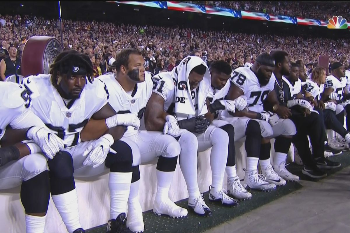 cc5dc31d Raiders' entire OL and several teammates protested during national ...