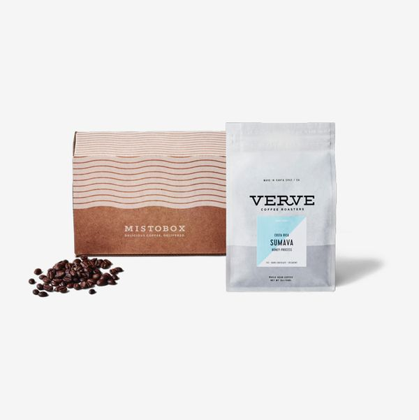 A box containing a package of Verve coffee beans