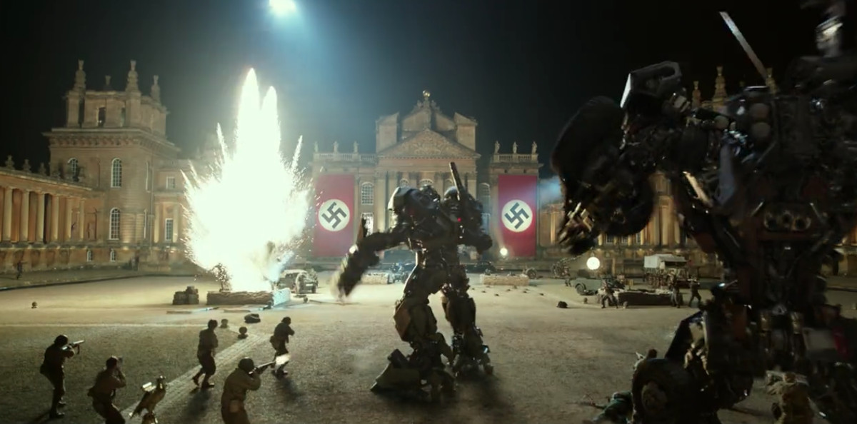 bumblebee fighting nazis in transformers the last night