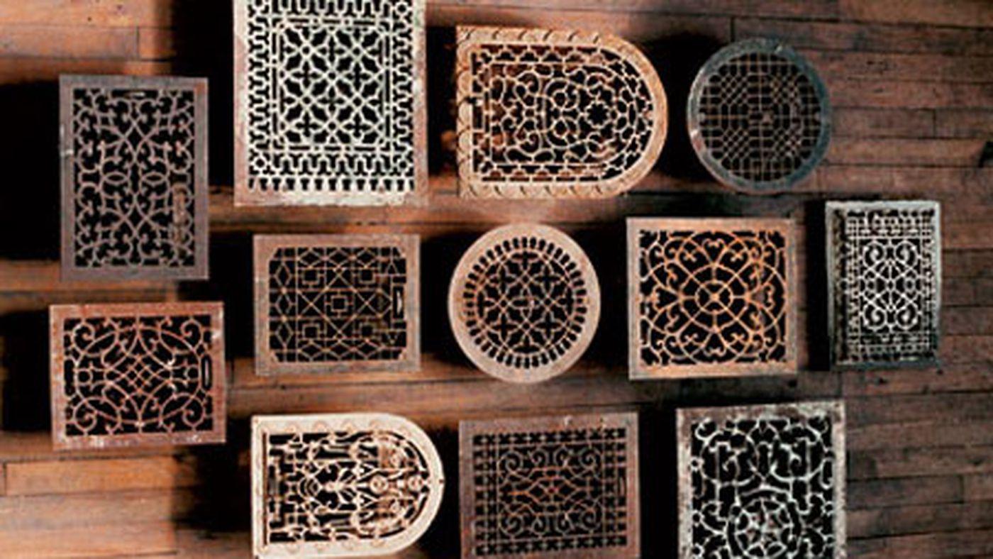 Large Rectangular Register Cast Iron Floor Grate Heating Vent Victorian Style