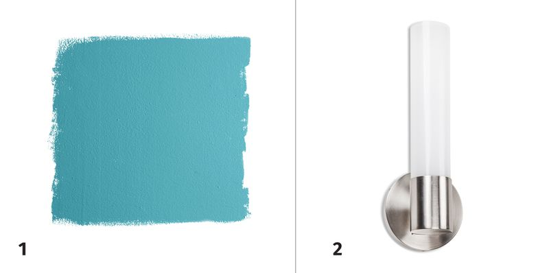 Summer 2021 Before & After Bath, paint swatch, wall sconce