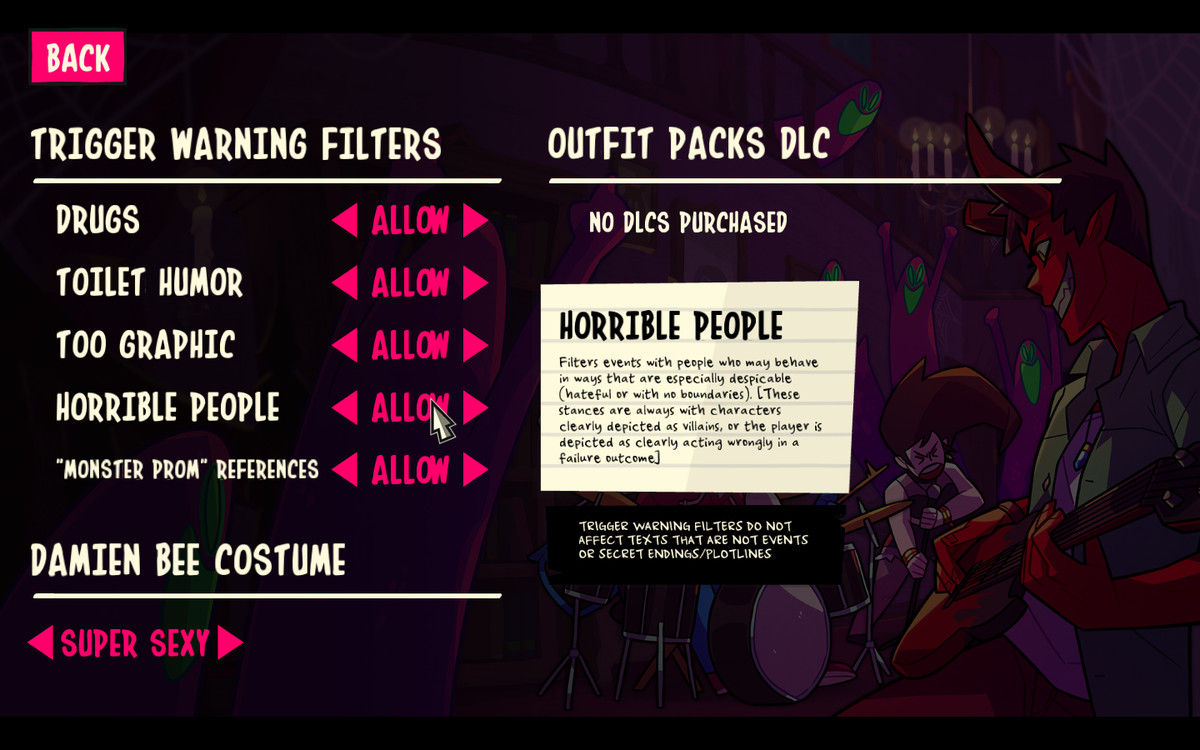 The settings in Monster Prom 2.