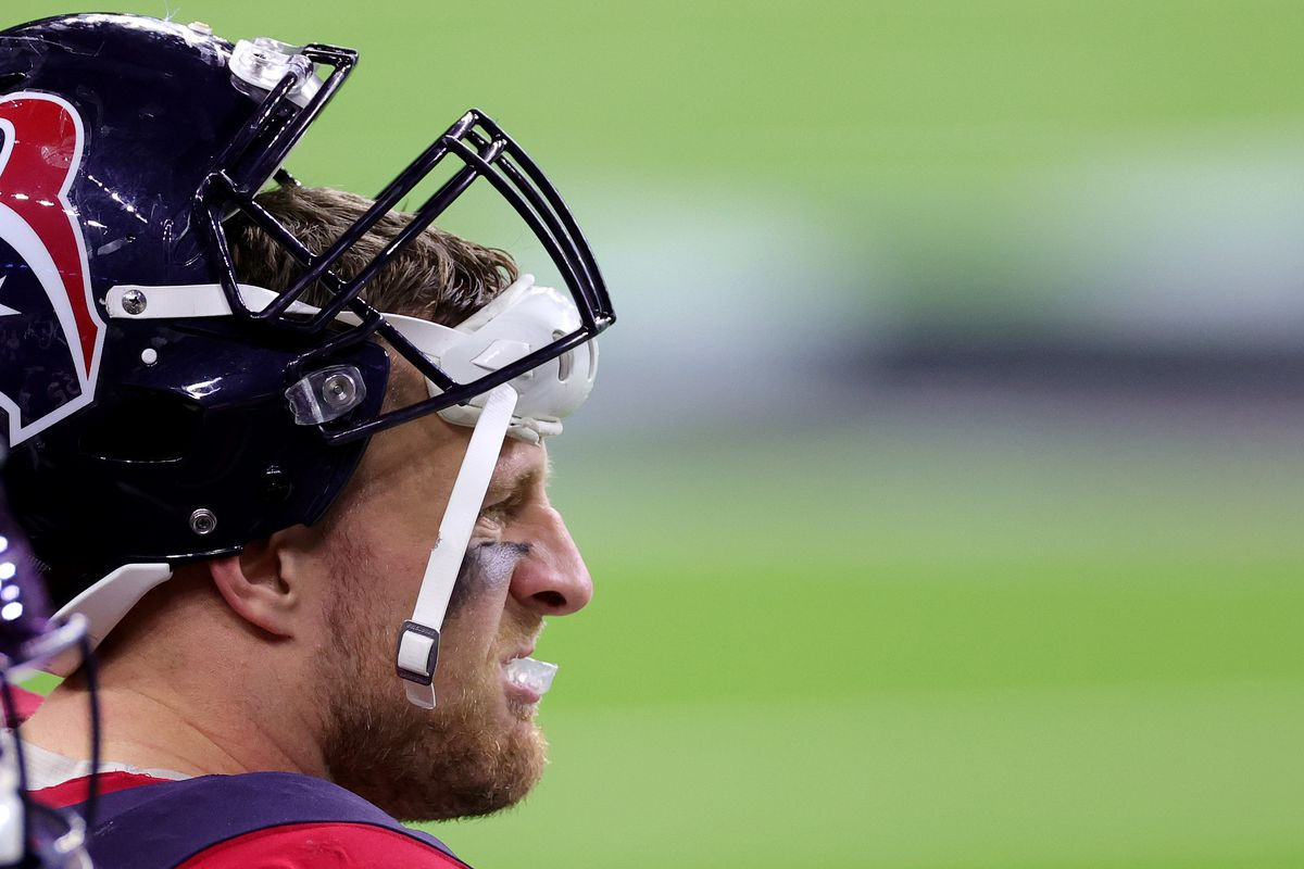 J.J. Watt #99 of the Houston Texans looks on against the Tennessee Titans during a game at NRG Stadium on January 03, 2021 in Houston, Texas.