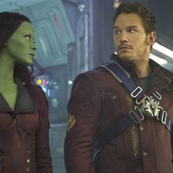Gamora (Zoe Saldana), from left, and Peter Quill/Star-Lord (Chris Pratt) in Marvel's Guardians of the Galaxy.