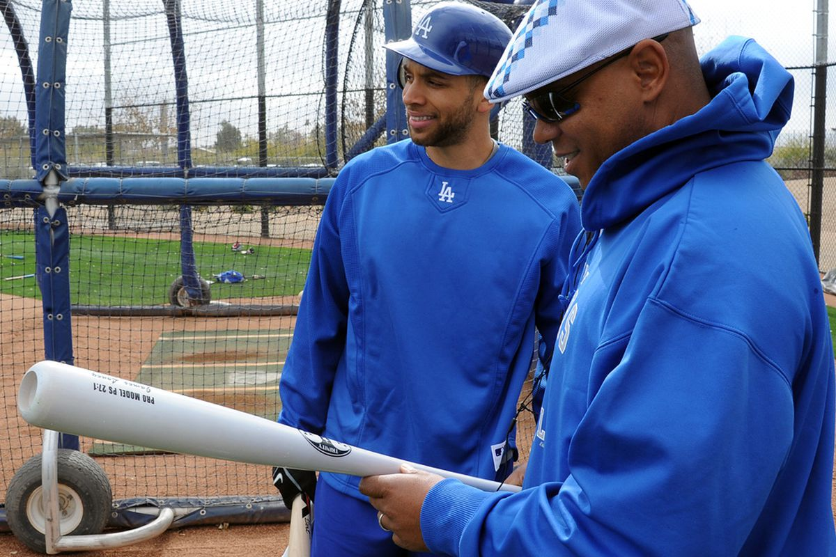 """DeJon, this new batting practice jersey isn't working."" (<em>Photo: Jon SooHoo / LA Dodgers</em>)"