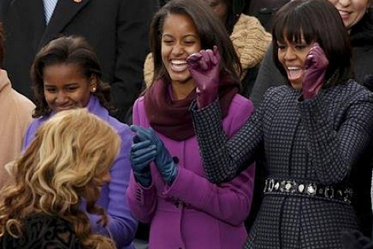 Sasha, Malia, and the First Lady cheer on Beyoncé in J. Crew
