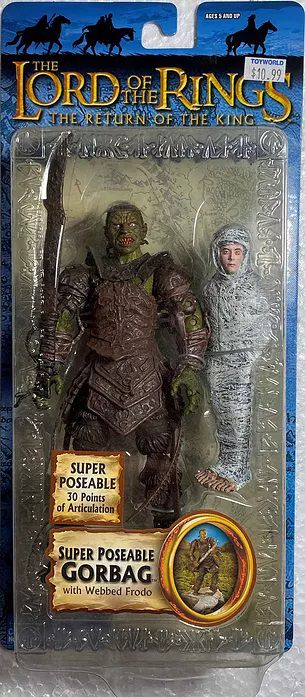 """Packaging for a """"super poseable Gorbag"""" Lord of the Rings action figure, complete with Webbed Frodo accessory."""