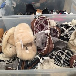 Faux shearling slippers and sock shoes, $25