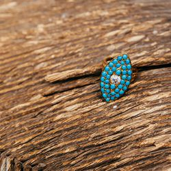 """1890's 18K Gold Turquoise and Diamond Ring, <a href=""""http://eriebasin.com/a_turqmarq0214.html"""">$2,395</a>"""
