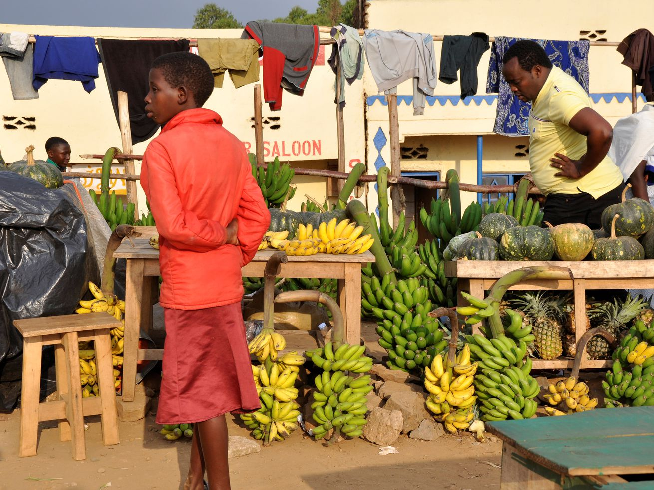 An outdoor produce market in Gisakura Village, Rwanda.