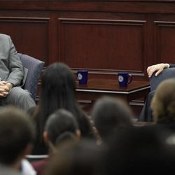 United States Supreme Court Associate Justice Samuel A. Alito, Jr., left, participates in a fireside chat event with the Honorable Ronald A. Cass at Roger Williams University Law School in Bristol,with RI., Friday, Sept. 14, 2012.