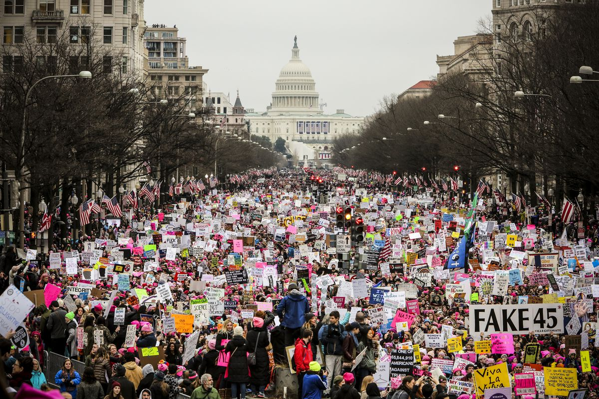 Woman's March in Washington DC, on January 21, 2017.