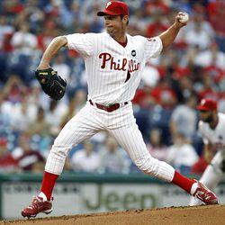 Philadelphia Phillies starting pitcher Jamie Moyer throws against the Colorado Rockies Tuesday.