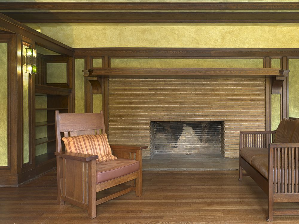 Fireplace with chairs