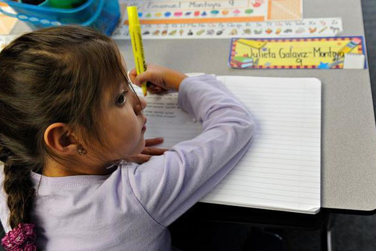 First grader Julieta Galaviz-Montoya works with her highlighter at Alice Terry Elementary School on Oct. 2, 2012.
