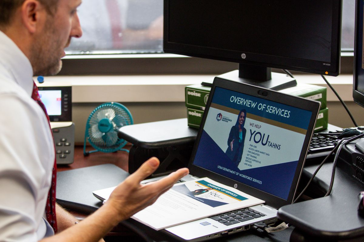 Lance Soffe leads a virtual workshop for people seeking unemployment assistance due to the COVID-19 pandemic at the Utah Department of Workforce Services in Salt Lake City on Thursday, March 26, 2020.