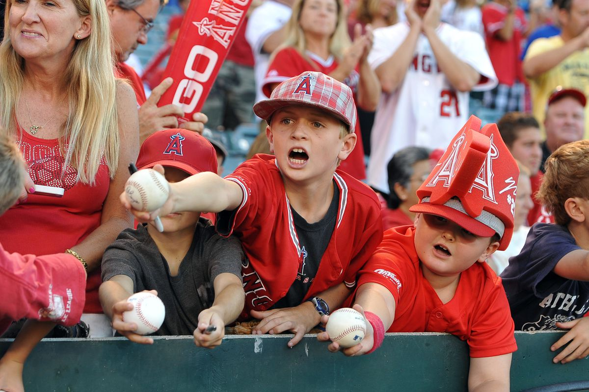 July 20, 2012; Anaheim, CA, USA;   Autograph seekers before the game between the Los Angeles Angels and the Texas Rangers at Angel Stadium. Mandatory Credit: Jayne Kamin-Oncea-US PRESSWIRE