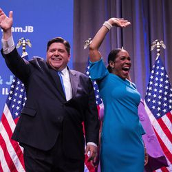 Gubernatorial candidate J.B. Pritzker and his running mate, State Rep. Juliana Stratton, celebrate his win in the March primary. | Ashlee Rezin/Sun-Times
