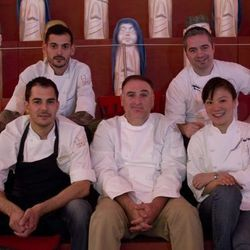 Bottom row: Ruben Garcia, chef and head of research and development, José Andrés, China Poblano chef Shirley Chung. Top row: Aitor Zabala, chef head of West Coast research and development, and Rick Billings, corporate pastry chef