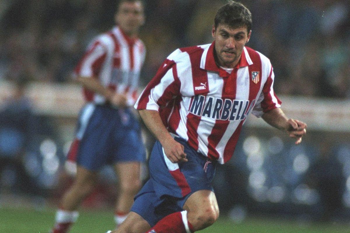Christian Vieri of Athleico Madrid passes the ball