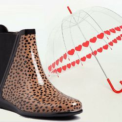 "Girly: <b>Loeffler Randall</b> Rain Boots Slip On Bootie in shiny leopard, <a href=""http://www1.bloomingdales.com/shop/product/loeffler-randall-rain-boots-slip-on-bootie?ID=633058&PseudoCat=se-xx-xx-xx.esn_results"">$150</a> + <b>Urban Outfitters</b> Heart"