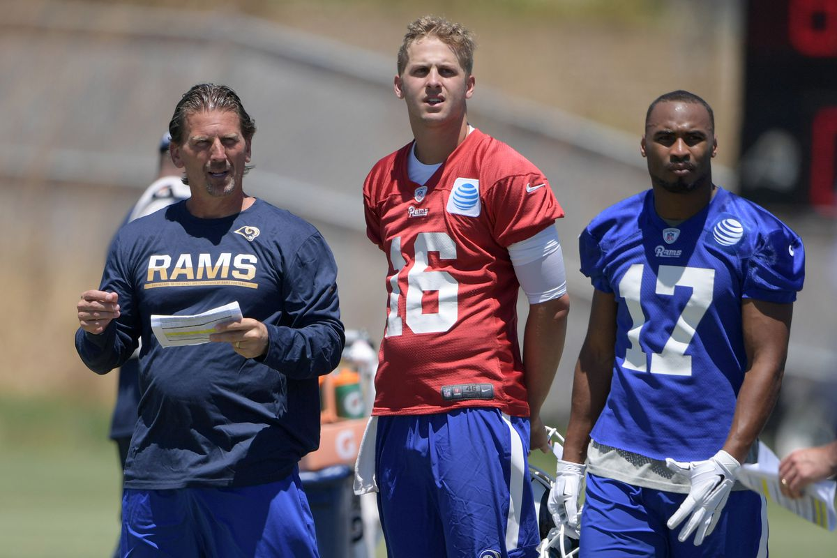 Los Angeles Rams QB Coach Greg Olson, QB Jared Goff and WR Robert Woods