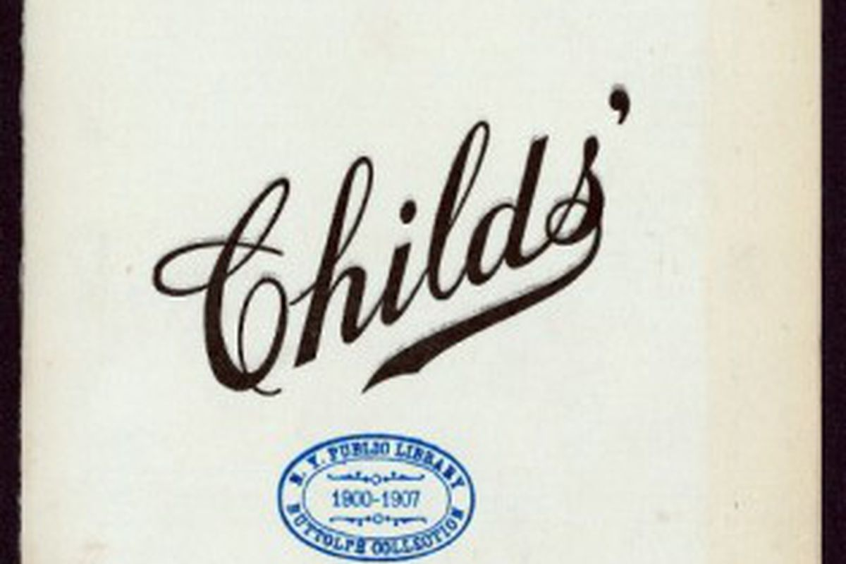 """A menu cover from the 1910s [Photo: <a href=""""http://digitalgallery.nypl.org/nypldigital/dgkeysearchdetail.cfm?trg=1&amp;strucID=279485&amp;imageID=472842&amp;total=12&amp;num=0&amp;word=menu childs'&amp;s=1&amp;notword=&amp;d=&amp;c=&amp;f=&amp;k=0&"""