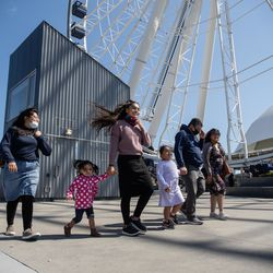 The Gomez family tours Navy Pier on its reopening day, Friday morning, April 30, 2021. Navy Pier was closed in 2020 due to the COVID-19 pandemic.