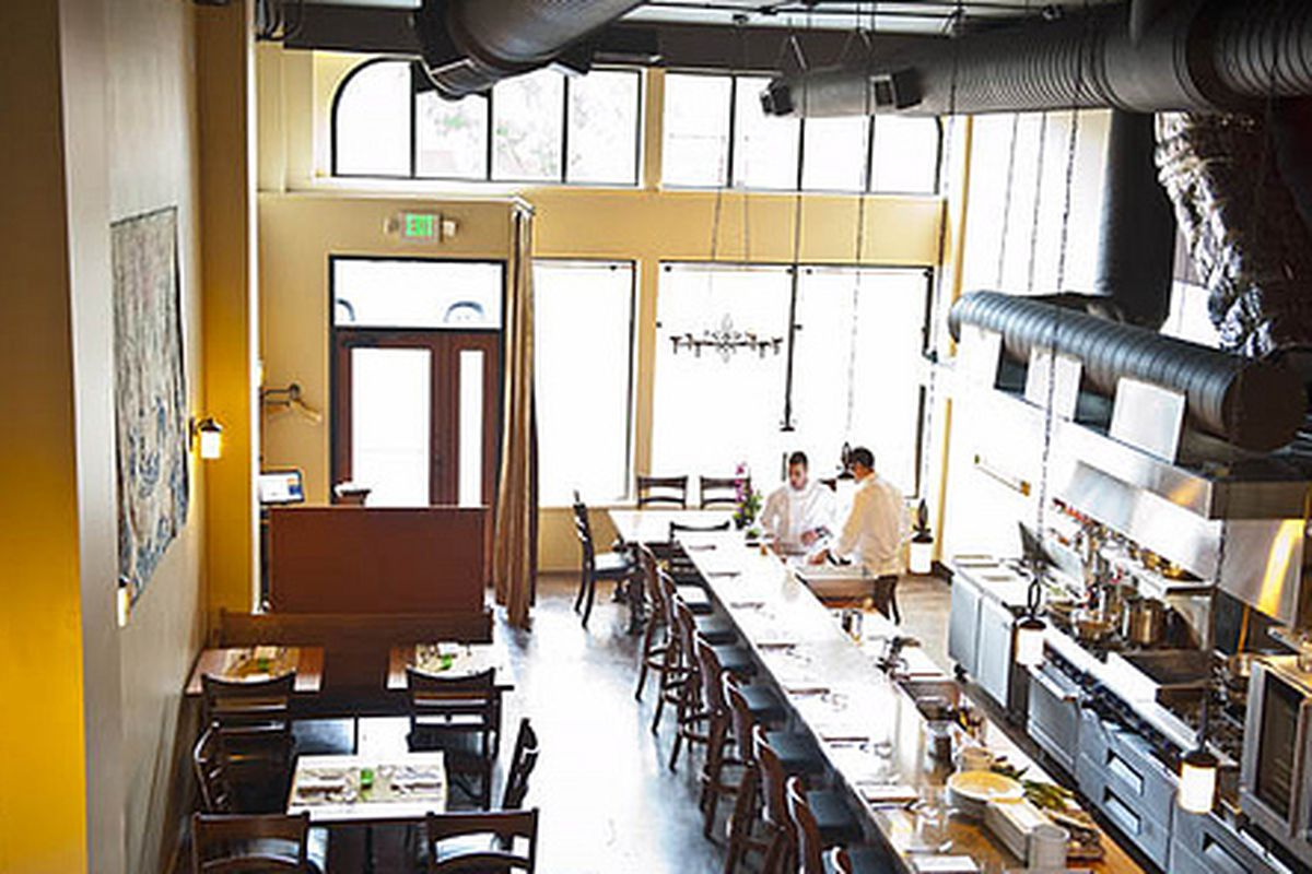 The dining room at Altura on a sunny day.