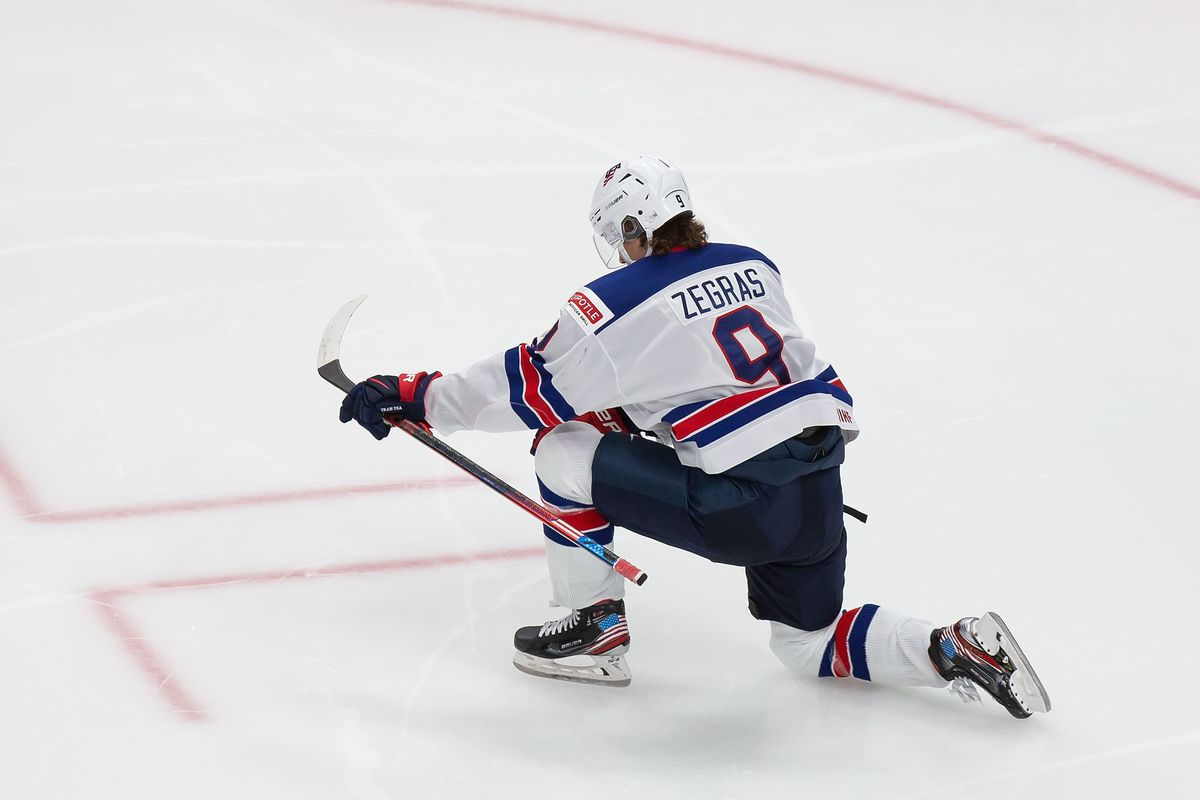 Trevor Zegras #9 of the United States celebrates a goal against Canada during the 2021 IIHF World Junior Championship gold medal game at Rogers Place on January 5, 2021 in Edmonton, Canada.