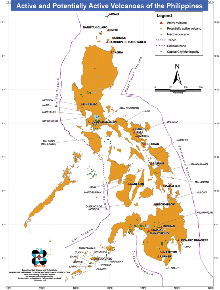 A map of volcanoes in the Philippines