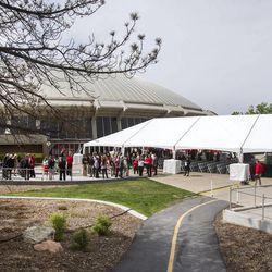 The University of Utah breaks ground Monday, May 5, 2014 on the new Jon M. and Karen Huntsman Basketball Center.