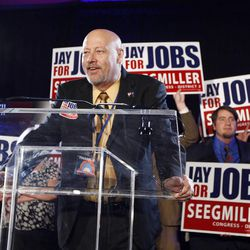 Jay Seegmiller gives his concession speech after his run for U.S. Congress in the 2nd District as Utah Democrats gather at the Salt Lake Sheraton on election night  Tuesday, Nov. 6, 2012, in Salt Lake City, Utah.
