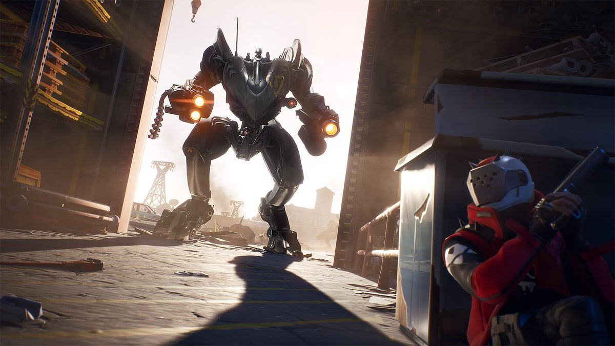 Fortnite's new BRUTE mech standing in a doorway as another player cowers in fear