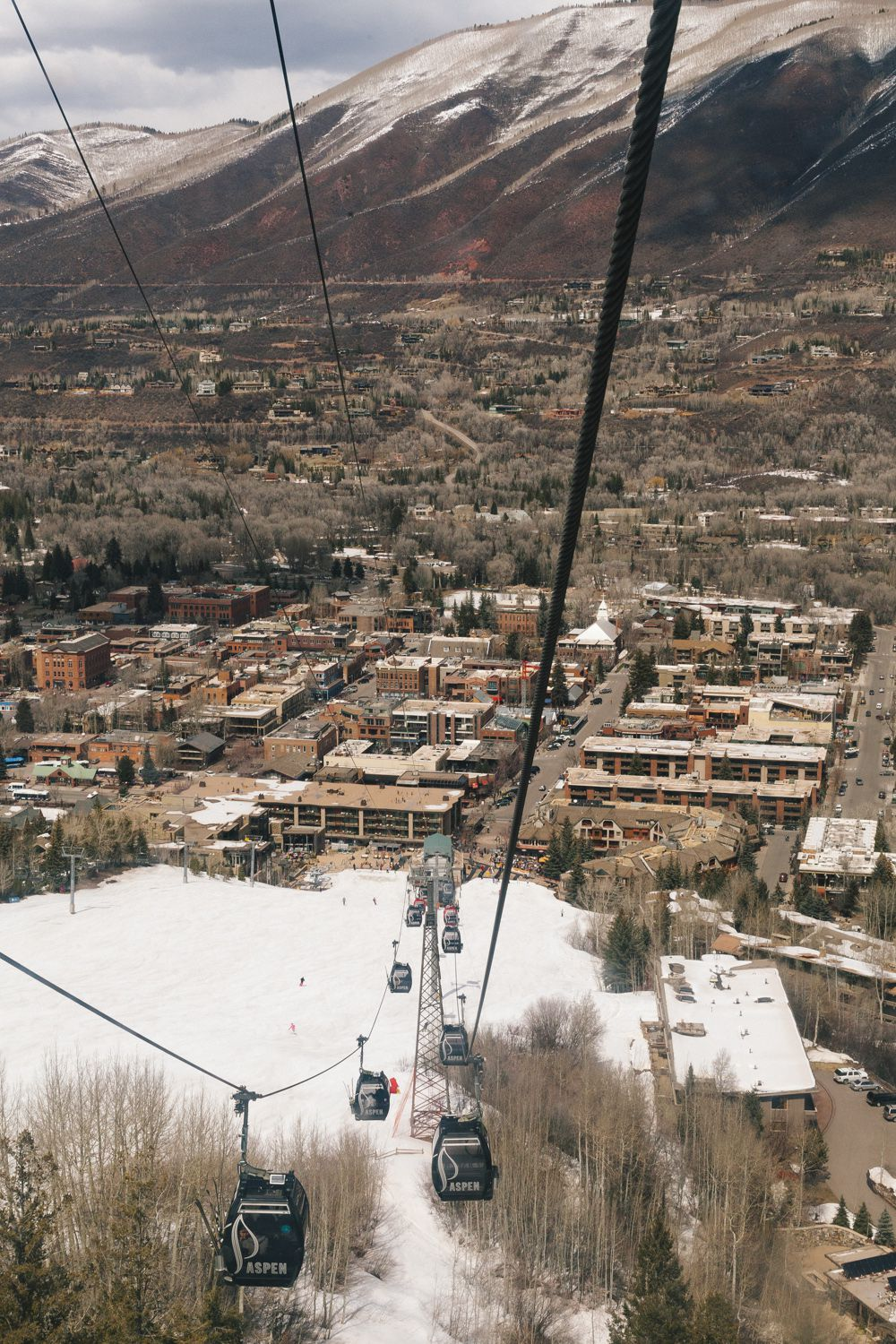 The town of Aspen seen from the gondola lift.