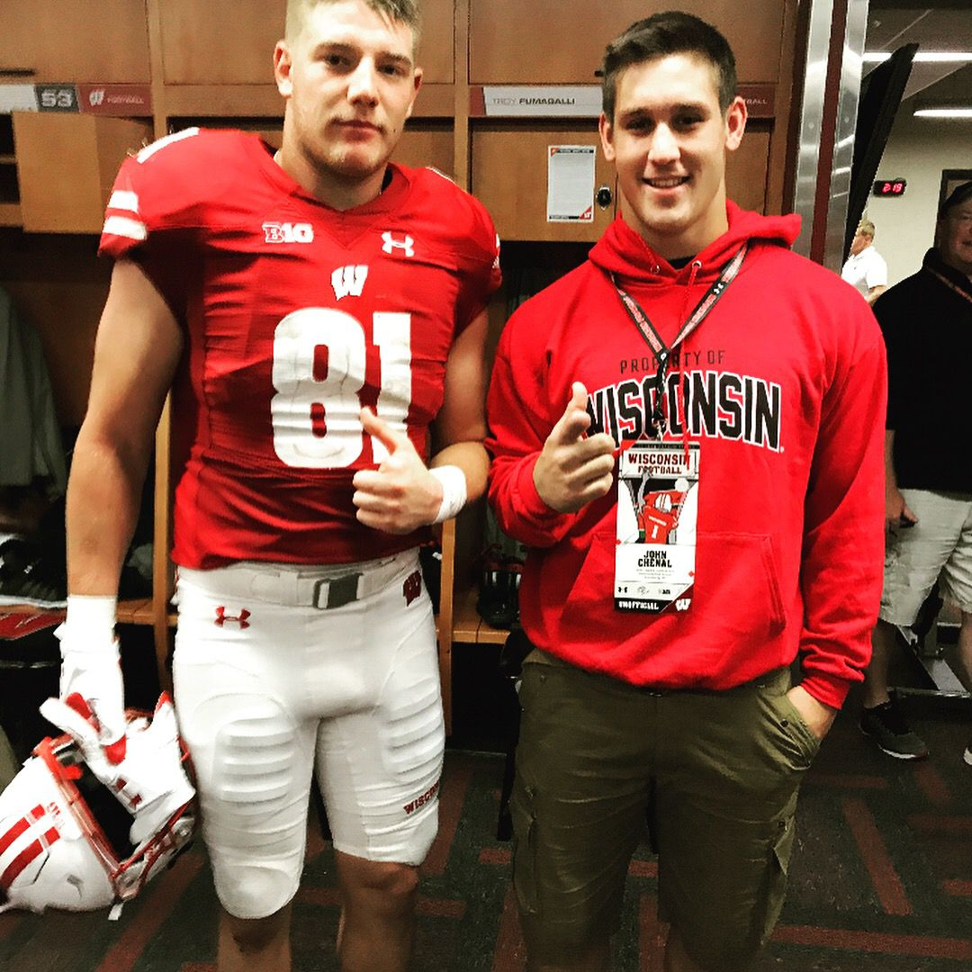 New Wisconsin commit John Chenal with tight end Troy Fumagalli.