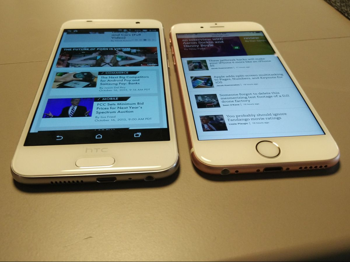 HTC A9 (left) looks a whole lot like the iPhone 6s (right),