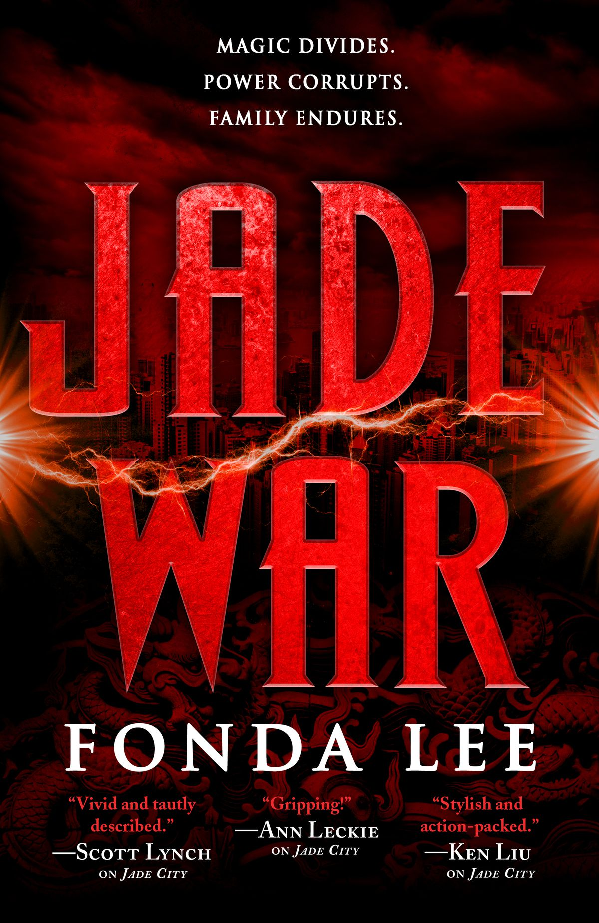 Red book cover with the words Jade War in red.