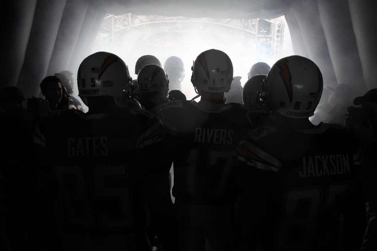 SAN DIEGO, CA - NOVEMBER 6:  The San Diego Chargers prepare to enter the stadium for the game against the Green Bay Packers on November 6, 2011 at Qualcomm Stadium in San Diego, California.  (Photo by Donald Miralle/Getty Images)