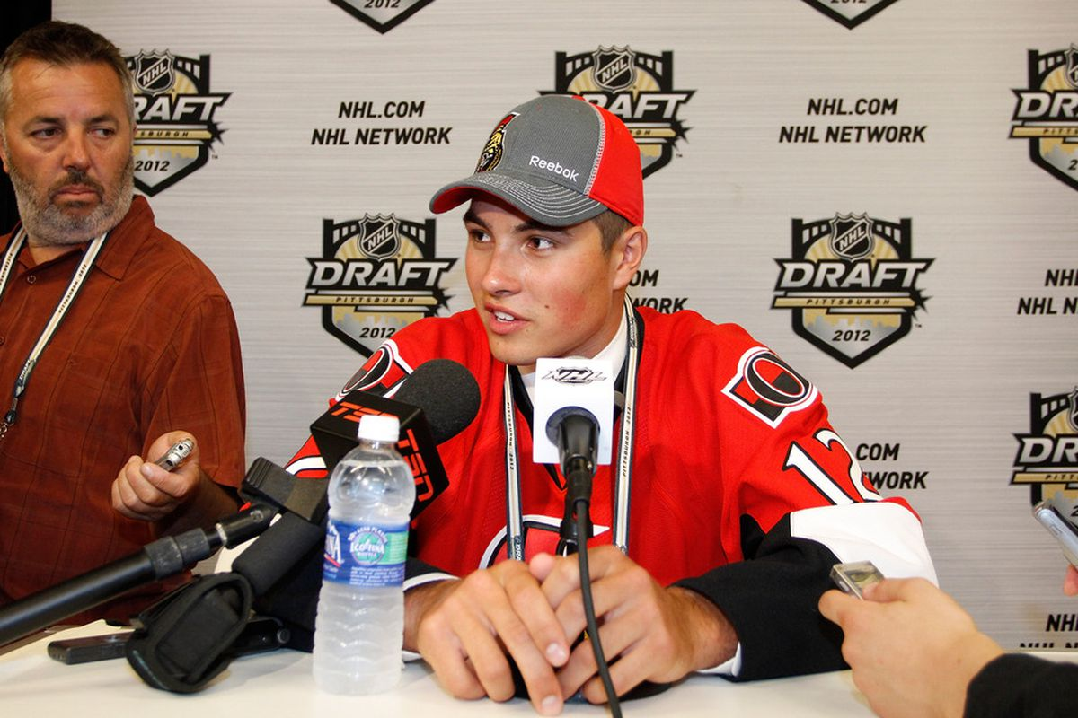PITTSBURGH, PA - JUNE 22: Cody Ceci, 15th overall pick by the Ottawa Senators, speaks to media during Round One of the 2012 NHL Entry Draft at Consol Energy Center on June 22, 2012 in Pittsburgh, Pennsylvania.  (Photo by Justin K. Aller/Getty Images)