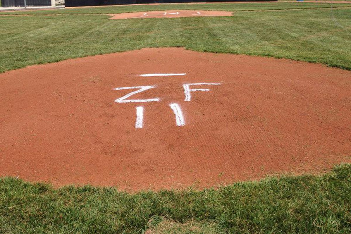 The Waverly Post 142 Shockers' mound where Zach threw out the first pitch.