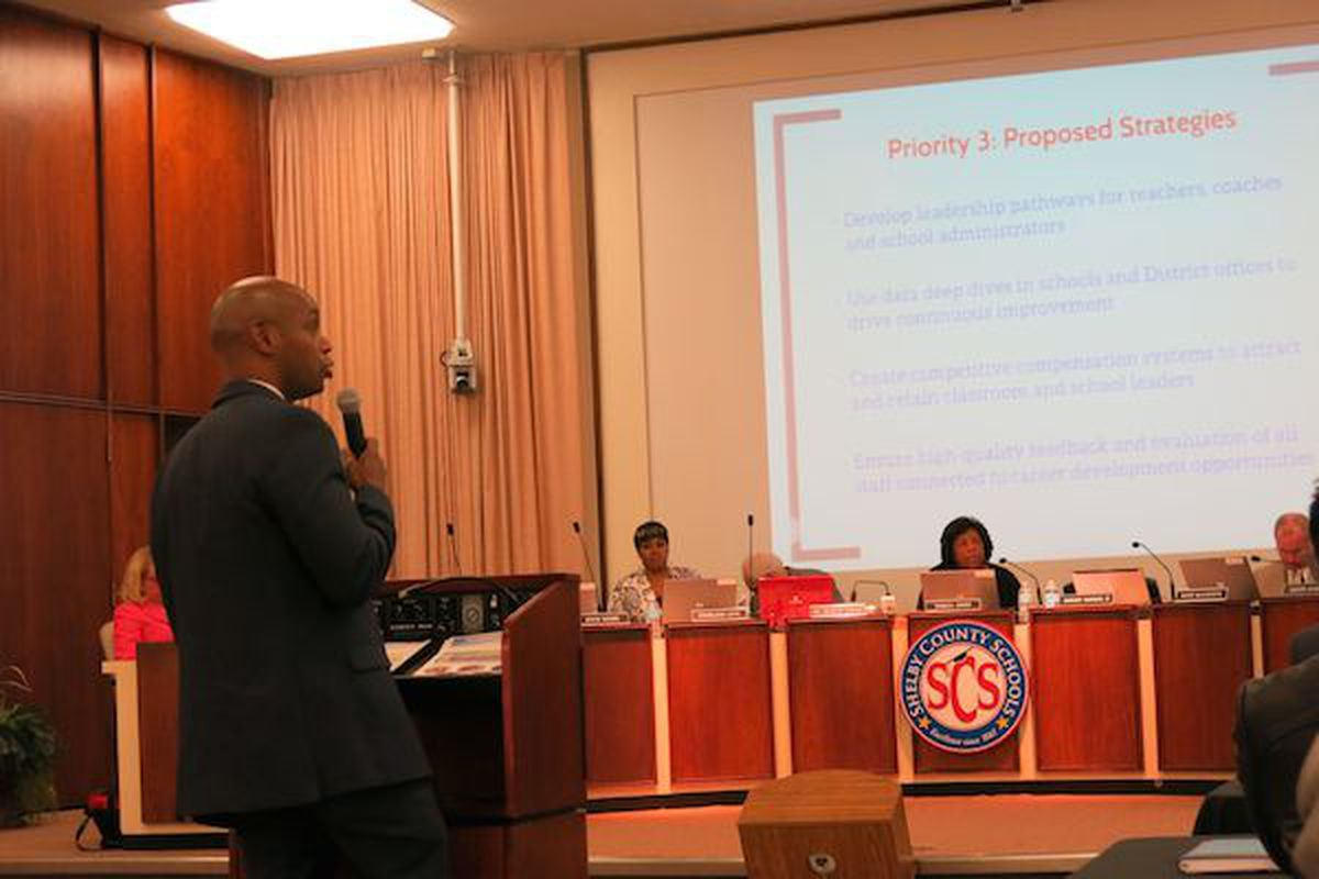 """Superintendent Dorsey Hopson presents """"Destination 2025"""" to the school board on Jan. 20, highlighting five priorities to improve student success incrementally to meet long-term strategic goals."""